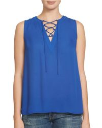 1.STATE | Blue Sleeveless Lace-up Front Blouse | Lyst