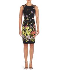Adrianna Papell | Black Plus Printed Sheath Dress | Lyst