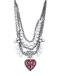 Gerard Yosca | Metallic Faux Pearl And Crystal Heart Pendant Statement Necklace | Lyst