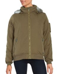 Bench | Green Faux Fur-accented Zip-up Jacket | Lyst