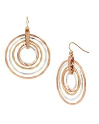 Robert Lee Morris   Metallic Layered Sculptural Rings Drop Earrings   Lyst
