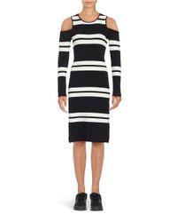 Eliza J Black Cold Shoulder Striped Sweater Dress