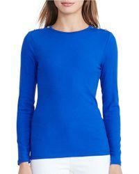 Lauren by Ralph Lauren | Blue Solid Cotton-blend Tee | Lyst