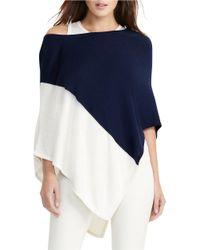 Lauren by Ralph Lauren | Blue Asymmetrical Silk-blend Poncho | Lyst
