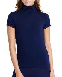 Lauren by Ralph Lauren | Blue Petite Short Sleeve Turtleneck Jersey | Lyst