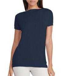 Lauren by Ralph Lauren | Blue Petite Slim-fit Silk Blend Sweater | Lyst