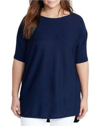 Lauren by Ralph Lauren | Blue Plus Boat Neck Elbow-sleeve Lightweight Sweater | Lyst