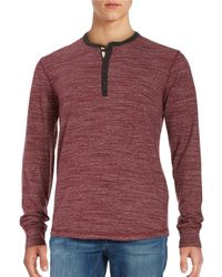 Lucky Brand | Red Knit Henley Shirt for Men | Lyst