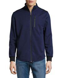 Kenneth Cole   Blue Bonded Zip Mock Neck Jacket for Men   Lyst