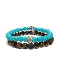 Steve Madden | Blue Stainless Steel Duo Turquoise And Tigers Eye Beaded Bracelets | Lyst