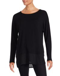 Lord & Taylor | Black Mesh Accented Top | Lyst