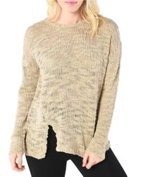 Kensie   Natural Textured Open Knit Sweater   Lyst