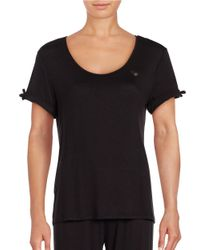 Betsey Johnson | Black Solid Top & Pajama Pants Set | Lyst