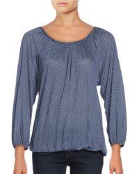 MICHAEL Michael Kors | Blue Printed Knit Top | Lyst