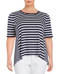 Lord & Taylor | Blue Plus Roundneck Striped Hi-lo Blouse | Lyst