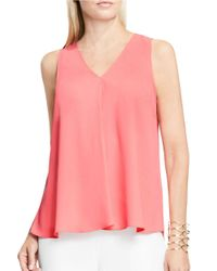 Vince Camuto | Pink V-neck Drape-front Blouse | Lyst