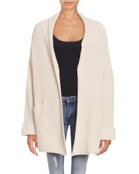 Free People | Natural Low Tide Ribbed Cardigan | Lyst