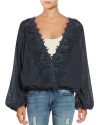 Free People   Blue Desert Sands Metallic Embroidered Top   Lyst