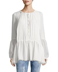 Free People White The Soul Serene Lace Inset Top