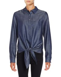 Ivanka Trump | Blue Chambray Tie-front Blouse | Lyst