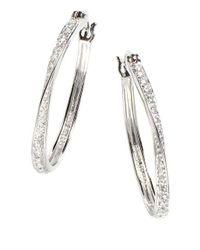 Lord & Taylor - White Sterling Silver Hoop Earrings - Lyst
