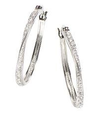 Lord & Taylor | White Sterling Silver Hoop Earrings | Lyst