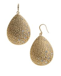 ABS By Allen Schwartz | Metallic Pave Drop Earrings | Lyst