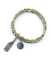 BCBGeneration | Metallic Double Beaded Bracelet | Lyst