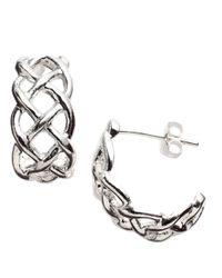 Lord & Taylor | Metallic Sterling Silver Open-weave Cuff Earrings | Lyst