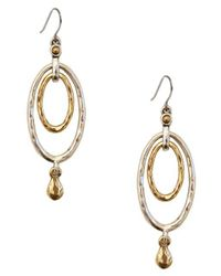 Lucky Brand | Metallic Two-tone Layered Drop Earrings | Lyst