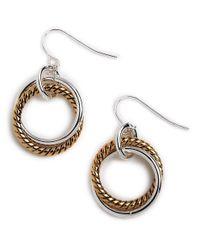 Lauren by Ralph Lauren | Metallic Two-tone Twisted Link Drop Earrings | Lyst