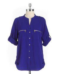 Calvin Klein | Blue Zipper Utility Shirt | Lyst