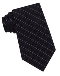 Calvin Klein | Black Classic Fit Etched Windowpane Plaid Silk Tie for Men | Lyst