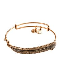 ALEX AND ANI | Metallic Quill Feather Bangle Bracelet | Lyst