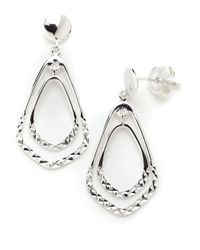Lord & Taylor | Metallic Sterling Silver Double Drop Earrings | Lyst