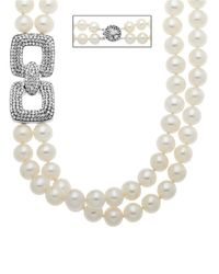 Lord & Taylor | Metallic Sterling Silver Pearl And Crystal Necklace | Lyst