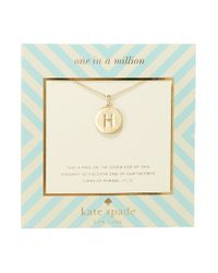 kate spade new york | Metallic One In A Million Letter H Pendant Necklace | Lyst