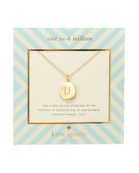 kate spade new york | Metallic One In A Million Letter U Pendant Necklace | Lyst