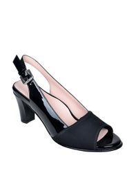 Taryn Rose | Black Fortula Patent Leather Slingback Heels | Lyst