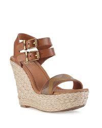 Elliott Lucca | Metallic Giulia Platform Wedge Sandals | Lyst