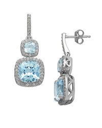 Lord & Taylor | Blue 14 Kt. White Gold And Topaz Earrings | Lyst