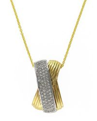 Effy | Metallic 14k Yellow And White Gold Diamond Pendant Necklace | Lyst