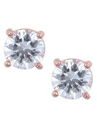 Anne Klein | Metallic Rose Goldtone And Cubic Zirconia Stud Earrings | Lyst