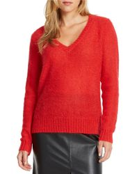 424 Fifth | Red V Neck Sweater | Lyst