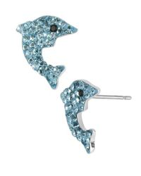 Betsey Johnson - Blue Pave Dolphin Stud Earrings - Lyst