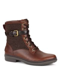 Ugg - Brown ® Kesey Cold Weather Leather And Textile Boots - Lyst