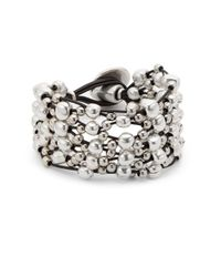 Uno De 50 - Metallic Leather And Bead Layered Bracelet - Lyst