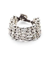 Uno De 50   Metallic Leather And Bead Layered Bracelet   Lyst