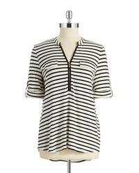 Calvin Klein   Black Striped Roll Tab Top   Lyst