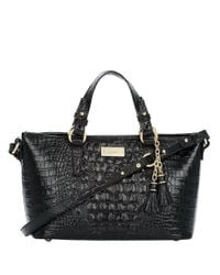 Brahmin | Black Mini Asher Embossed Leather Satchel Bag | Lyst